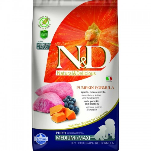N & D GRAIN FREE PUMPKIN LAMB & BLUEBERRY PUPPY MEDIUM & MAXI 2,5KG
