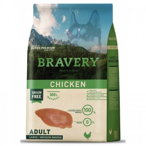 BRAVERY GRAIN FREE ADULT MEDIUM - LARGE CHICKEN DOG 4KG